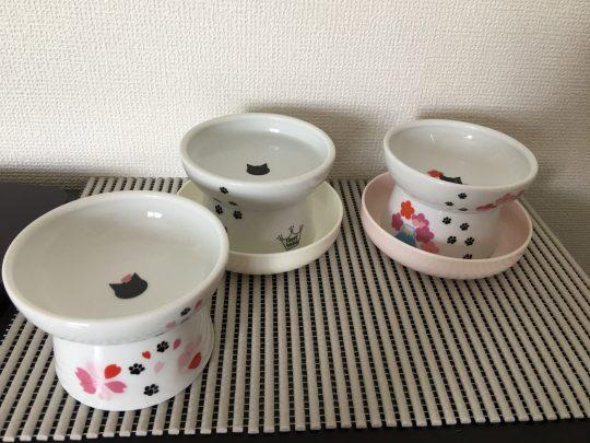 猫のフード皿3種