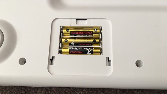 ペットくんに単4のアルカリ電池を3本セットする
